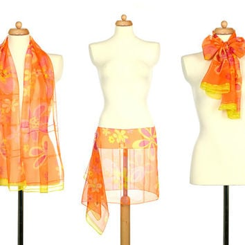 Orange Yellow Pink Floral Scarf - Vintage Accessory