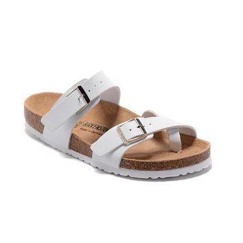 2017 Birkenstock Summer Fashion Leather Cork Flats Beach Lovers Slippers White Casual