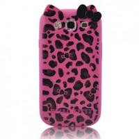 Hello Kitty TPU Leopard & Bow Case for SAMSUNG GALAXY S III S3 i9300 - Hot Pink