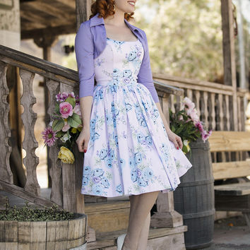 Pinup Couture Jenny Dress in Blue Rose