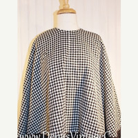 50% OFF SALE Vintage 60's  Black and White Hounds Tooth Wool Poncho Cape