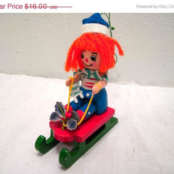 Christmas, Wooden, Girl, Doll, Sled, Tree, Ornament, Mid Century, Orange Hair, Holiday, Retro, Xmas, Punk, Decoration, HIpster, Figurine, On