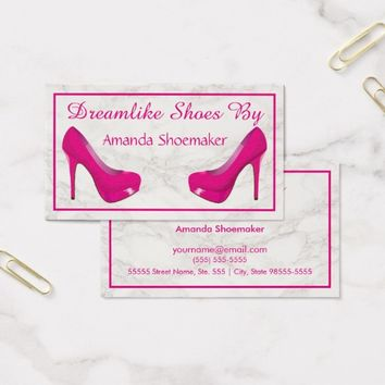 Pink High Heel Stiletto Pumps White Marble Business Card