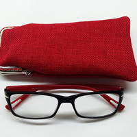 Red Eyeglasses Case