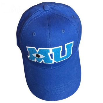 Trendy Winter Jacket Monsters University Sulley Mike Baseball Caps MU Letters Unisex Pixar Movie Blue Hat Adjustable Hip Hop Caps Snapback Hat AT_92_12