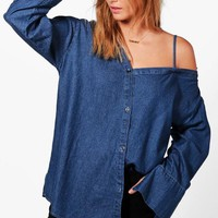 Allie Asymmetric Cold Shoulder Denim Shirt | Boohoo
