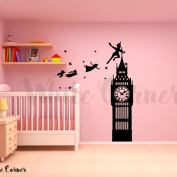 kau52 Big Ban Clock Story Fairytale Never Land Peter Pan Tinkerbell Kids Nursery Children Wall Decal Vinyl Decor Sticker Art Bedroom