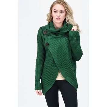 Surplice Cowl Neck & Buttons Sweater {Hunter Green}