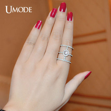 UMODE 2016 Latest Design 0.5 ct AAA Grade Round CZ Cubic Zirconia Tri-band Unique Rings For Women UR0136