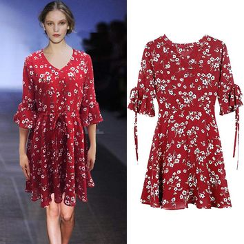 New Summer V-Neck Flower Butterfly Sleeve Chiffon Print Dress Fashion Women's Ruffles Sexy Lacing Bowknot A-Line Dress