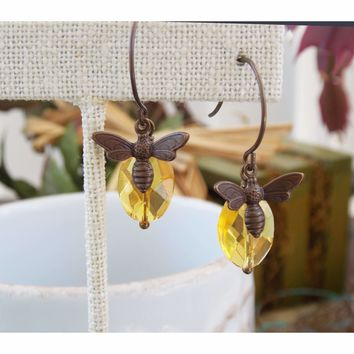 Brass Honey Bee and Amber Glass Drop Earrings
