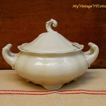 Antique Porcelain Soup Tureen - Extra Large with Footed Base and Detailed Finial - Pirkenhammer Avignon Pattern