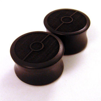 Ebony Ball Wooden Plugs 00g 9 mm 10mm 7/16 11 mm 1/2 by KCsGlass