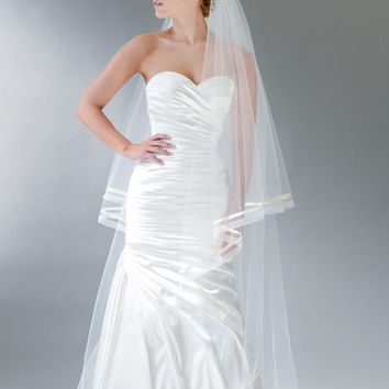 Cathedral Veil with Satin Ribbon and Sheer Ribbon