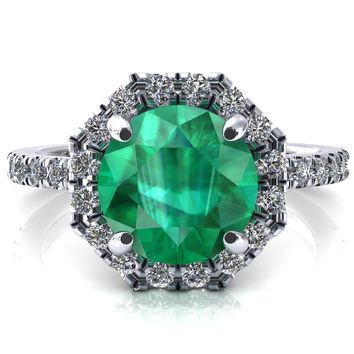 Henrietta Round Emerald 4 Prong Halo 3/4 Micropave Engagement Ring