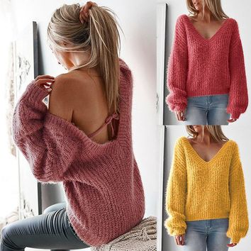 Backless Sexy V Neck Long Sleeve Loose Sweater