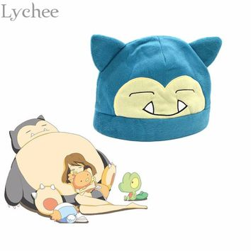 Lychee Harajuku Women Men Anime Cosplay Pocket Monster Pokemon Snorlax Cap Soft Plush Hat Toy Doll Gift