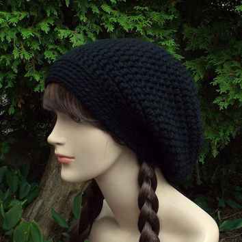Black Slouch Beanie - Womens Slouchy Crochet Hat - Oversized Slouch Beanie - Baggy Beanie - Chunky Hat - Winter Slouchy Hat