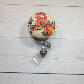 Retractable ID Badge Holder Reel  - Fabric Button - tiny yellow flowers floral monogrammed monogram custom