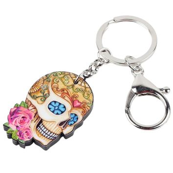 Acrylic Floral Colorful Skull Key Chains Keyrings