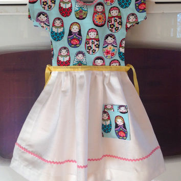 Kitchen Towel / Oven Door Dress /Nesting Dolls & Rick Rack / Double-Sided Tea Towel Dress / Hanging Towel/ One-of-a-Kind / Gift for Her