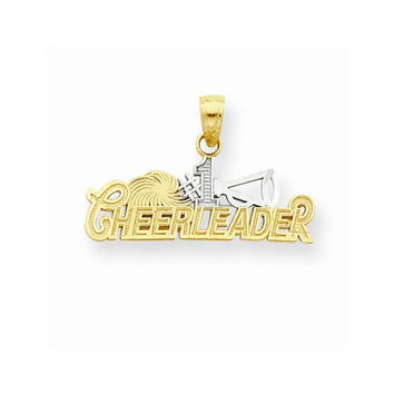 10k Two Tone Gold Polish #1 Cheerleader Pendant