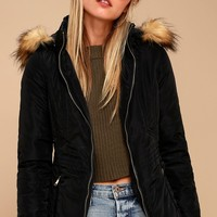 Emmet Black Faux Fur Trim Jacket