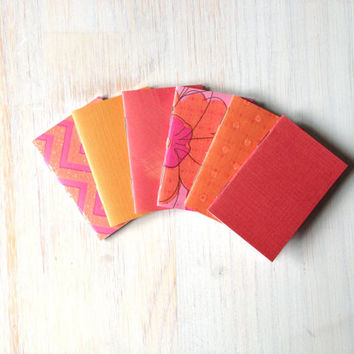 Small Notebooks: Fall Colors, 6 Tiny Journals Set, Autumn, Orange, Pink, Party Favors, Wedding, Journals, Jotters, Mini Journals, Small