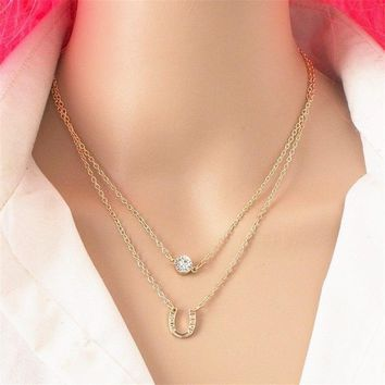 Best Of Luck Horseshoe CZ Layered Necklace