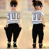 Top Quality Baby Toddler Girls Clothing Set Little Big Kids Clothes Summer T Shirt + Pants 2pcs Suit