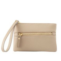 Front-Zip Faux Leather Wristlet by Charlotte Russe - Tan