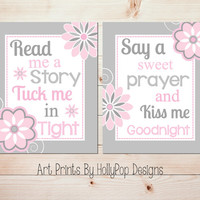 Nursery Wall Art Pink Gray Nursery Art Print Read Me A Story Tuck Me In Tight quote Baby Girl Nursery Decor Toddler Girls Bedroom Art #1007