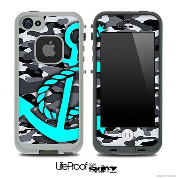 Snow Camouflage Print and Turquoise Anchor Skin for the iPhone 5 or 4/4s LifeProof Case