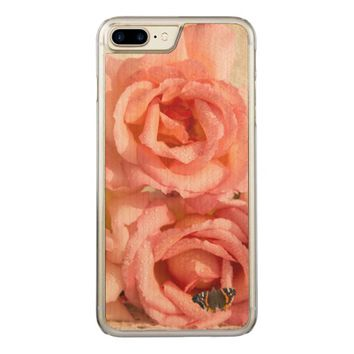 Pink roses with dew and butterfly carved iPhone 7 plus case