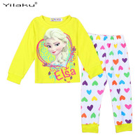 Girls Cartoon Pijamas Kids Pyjamas Children Pajamas Clothing Set Long Sleeve Kids Sleepwear Elsa Anna Girls Pajama Sets