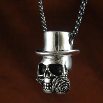 "Skull Necklace Antique Silver Steampunk Skull Pendant on 24"" Gunmetal Chain"