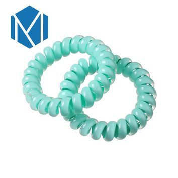 MISM 1 Pair Female Telephone Wire Line Cord Ponytail Holders Women Hair Scrunchy Candy Color Hair Ring Solid Gum Elastic Band