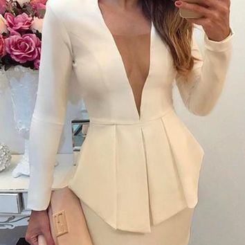 White Ruffle Irregular Peplum Plunging Neckline Long Sleeve Mini Dress