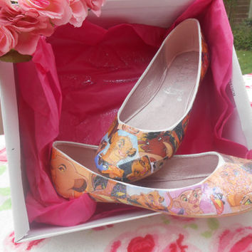Disney 'The Lion King' Decoupage Glitter Story Book Ballet Flat Shoes