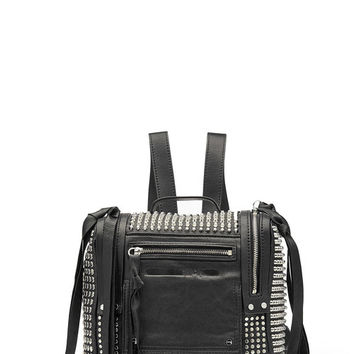 Convertible Leather Bag with Stud Embellishment - McQ Alexander McQueen | WOMEN | US STYLEBOP.COM