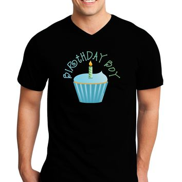 Birthday Boy - Candle Cupcake Adult Dark V-Neck T-Shirt by TooLoud