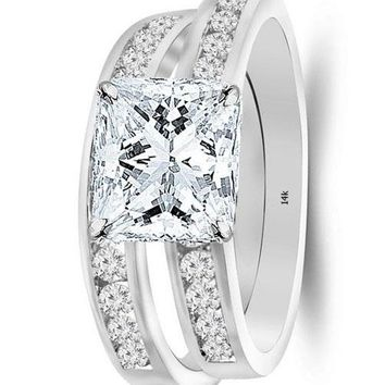 .1.7 Ctw 14K White Gold GIA Certified Princess Cut Classic Channel Set Wedding Set Bridal Band & Diamond Engagement Ring, 1 Ct D-E VS1-VS2 Center