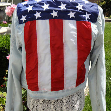 Customized American Flag Denim Jacket