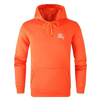 Burberry 2019 new solid color men's and women's hooded hoodies Orange
