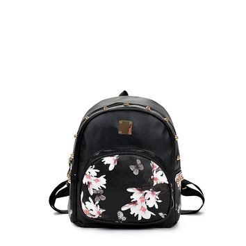 Pocket Front Butterfly Print PU Backpack