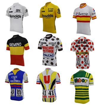retro cycling jersey men short sleeve team bike wear 9 old styles bike clothing riding racing maillot breathable mtb jersey