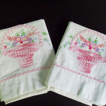 Pillowcases Embroidered Crocheted Pink Baskets Floral Design Pair of Standard Cases Shabby Chic Farmhouse