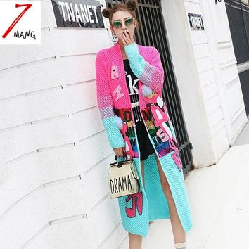 Autumn women novelty cartoon pink leopard sequins long sweater pink blue contrast color cardigans