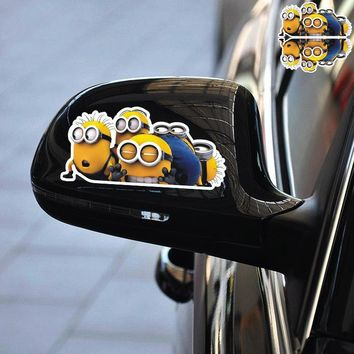 Car Stickers Minions Cartoon Cute Funny Lovely Creative Decals Waterproof Reflective Auto Tuning Styling Duad 14x7cm D16