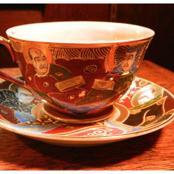 Occupied Japan Satsuma Moriage Tea Cup - Adorned with Kannon (Goddess of Mercy),  Rakans and Shimazu Family Crest - Marked Normally China